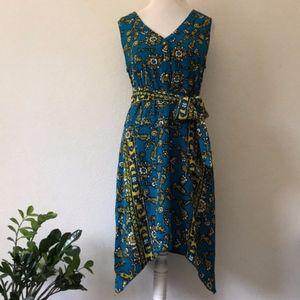 BETH BOWLEY Tapestry Floral Silk Asymmetric Dress